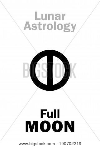 Astrology Alphabet: Full MOON (Lunar phase). Hieroglyphics character sign (single symbol).