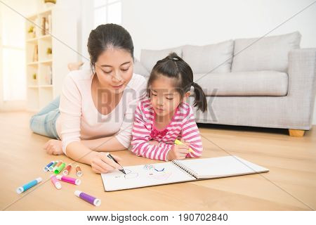 Mother And Daughter Are Enjoy Drawing