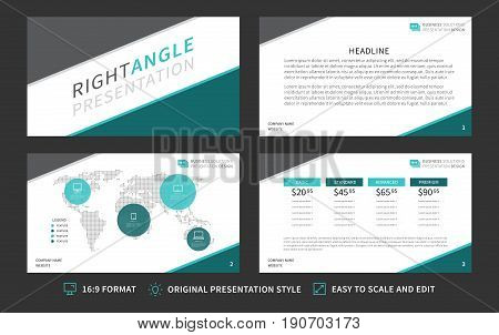 Corporate presentation vector template. Modern business presentation 16:9 format graphic design. Minimalistic layout with infographic front page content page diagram. Easy to use edit and print.