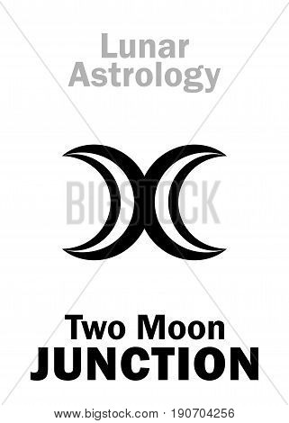 Astrology Alphabet: Two MOON junction. Hieroglyphics character sign (single symbol).
