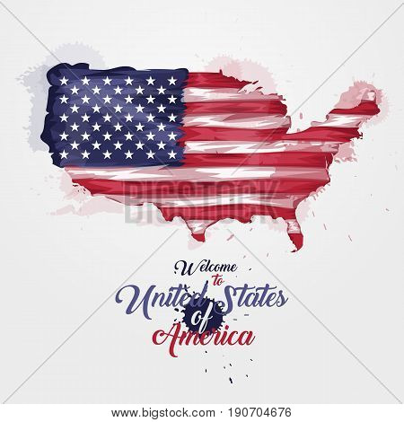 Map of United States of America with the decoration of the national flag. Symbol, poster, banner USA. Style watercolor drawing. America map with national flag. Vector illustration