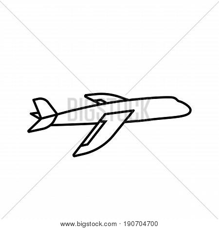 Plane icon. Simple outline plane vector icon on white background