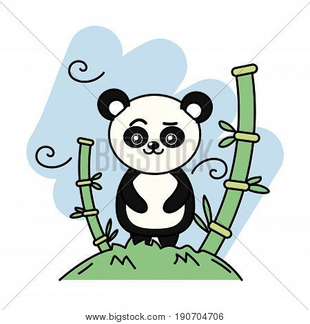 cute panda bear animal in the mountain with bamboo vector illustration