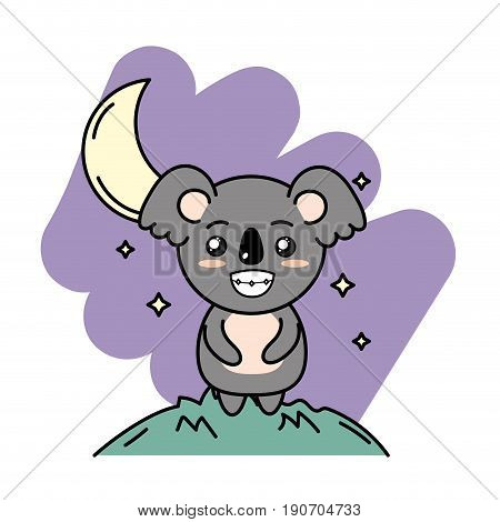 cute koala animal in the mountain with moon and stars vector illustration