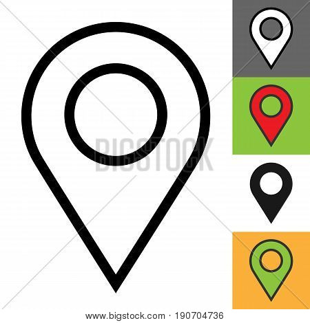 Location pin icon. Simple outline location pin vector icon on white background. Linear, silhouette, color design