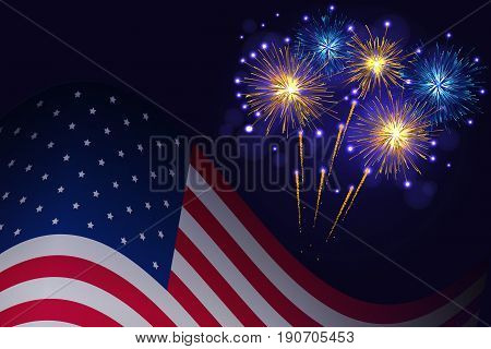 United States flag and celebration golden blue fireworks vector background. Independence Day, 4th of July holidays salute greeting card.
