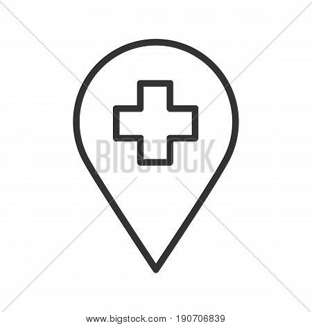 Hospital pinpoint linear icon. Thin line illustration. Vector isolated outline drawing