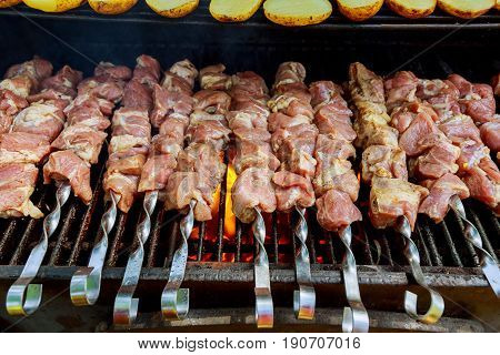 Grilling shashlik on barbecue grill. Selective focus barbecue BBQ