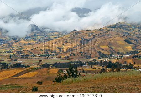 Clouds On The Fields Of Zumbahua In Ecuadorian Altiplano. Highland Andes Near Quilotoa Lagoon, South