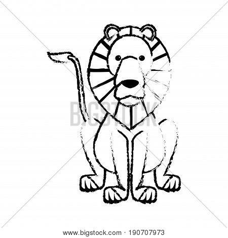 sketch lion wild life sitting icon vector illustration