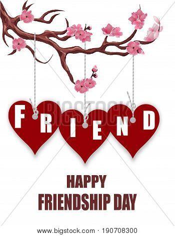 Beautiful postcard for friendship day. Hearts of friends. Sakura branch. Vector illustration