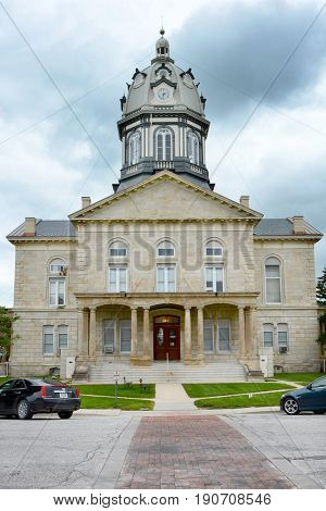 WINTERSET, IOWA - AUGUST 19, 2015: Madison County Courthouse. Listed on the National Register of Historic Places in 1981 as a part of the County Courthouses in Iowa Thematic Resource.