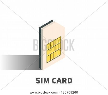 SIM card icon vector symbol in isometric 3D style isolated on white background.