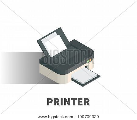 Printer icon vector symbol in isometric 3D style isolated on white background.