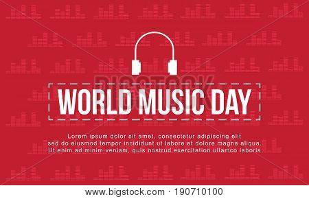 World music day with red background style vector art