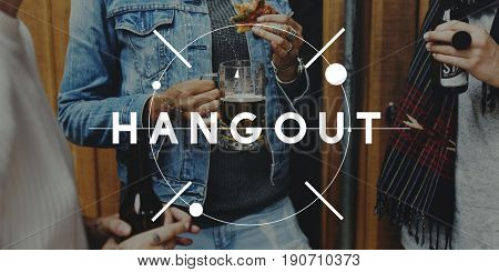 Group of friends hangout together with beverage