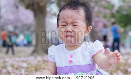 asia baby cute so crying in garden