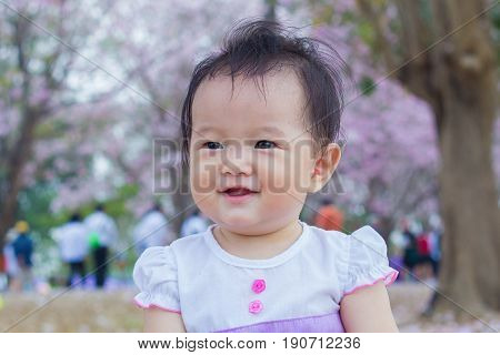 cute baby happy and smile in garden
