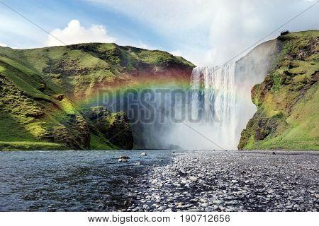 Skogafoss waterfall in summer Iceland