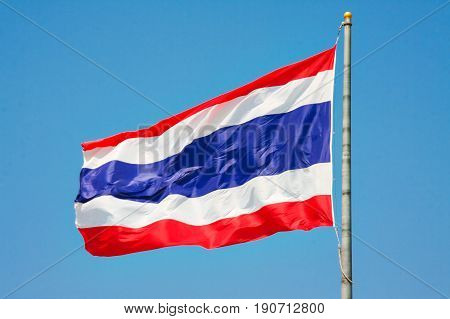 Thailand flag and blue sky in bright day