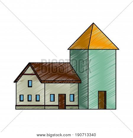 house with windows cellar traditional icon vector illustration