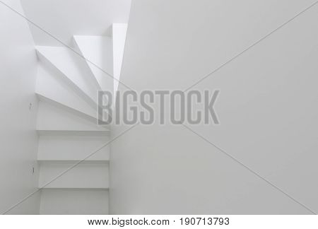 White staircase going upward top view. interior design