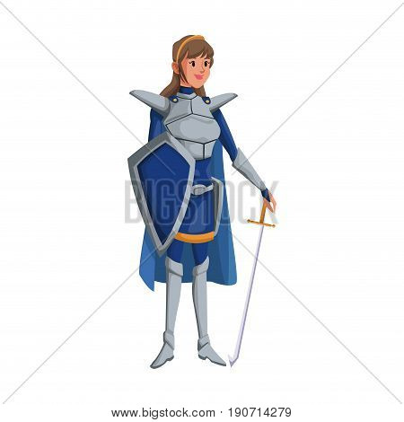 cartoon warrior princess woman in costume with armor shield vector illustration