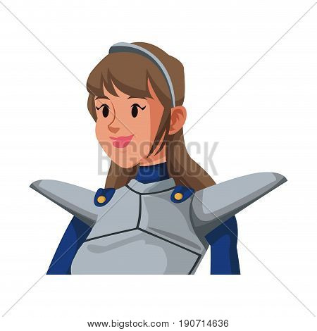 cartoon knight woman in costume with armor shield vector illustration