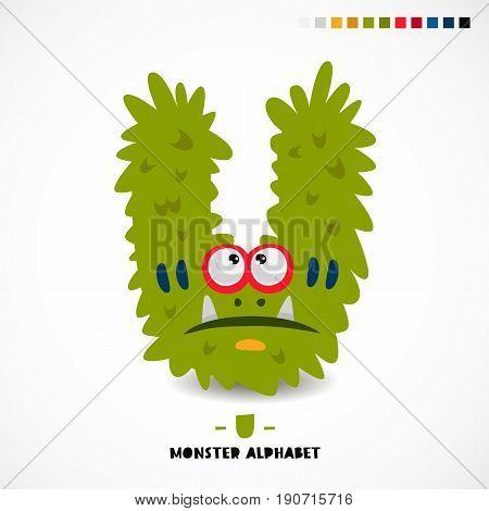 Monster alphabet. Letter U. Strange animal. Vector illustration on white background. Great children's print. The concept of a kid's toy.