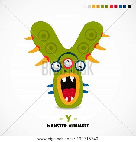 Monster alphabet. Letter Y. Strange animal. Vector illustration on white background. Great children's print. The concept of a kid's toy.