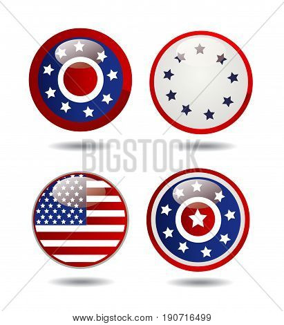 United States Flag Glossy Buttons on white
