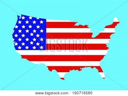 USA map vector illustration on blue background