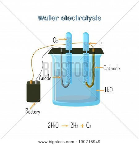 Water electrolysis diagram. Educational chemistry for kids. Source of hydrogen - alternative fuel. Cartoon vector illustration in flat style.
