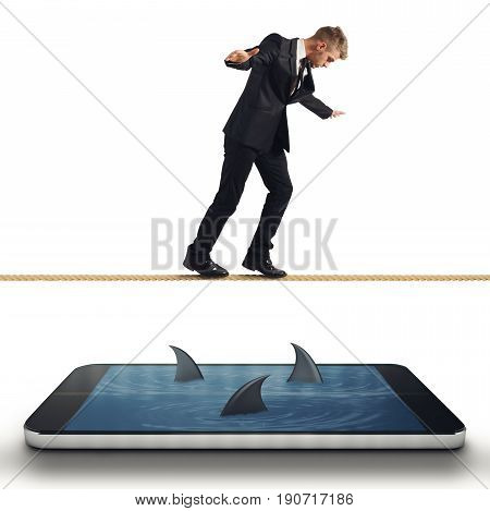 Concept of difficulty with Businessman in trouble with his smartphone