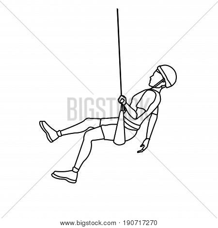 Young male climber hanging on a rope and looking to vector illustration