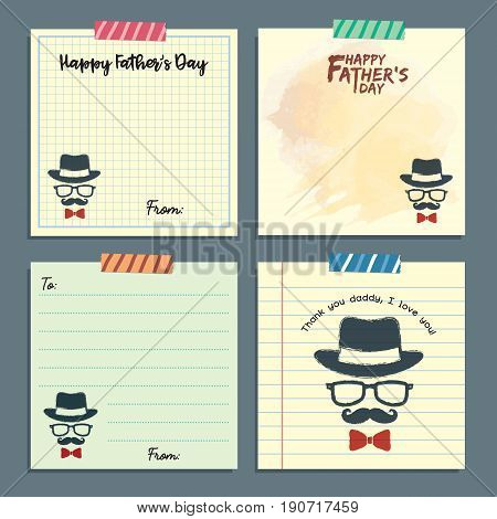 Father's day memo notes template collection. Vector set of isolated vintage hipster paper sheets, lined paper and notepaper design with tape.