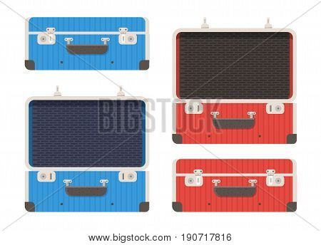 Closed and open briefcase or luggage bag. Travel suitcase isolated on white background. Red and blue suit case vector illustration in flat design.