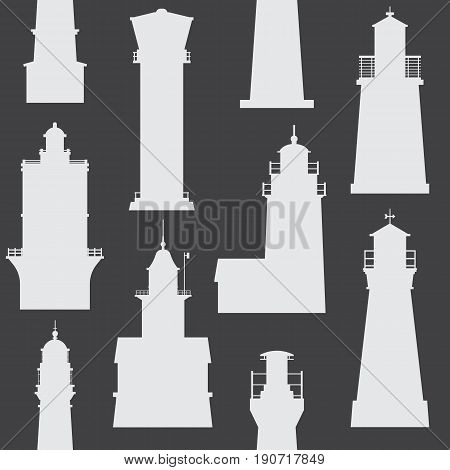 Silhouette lighthouse pattern. Different sea guiding light houses seamless background. Sea pharos or beacon  maritime backdrop in black and white. Searchlight tower of various types in outline design.