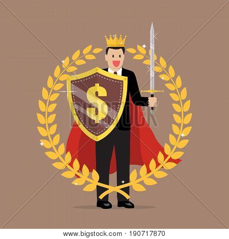 Man with shield sword and golden wreath. Symbol of victory and achievement