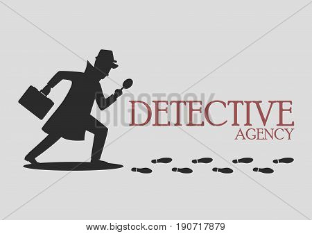 Silhouette of detective agency. Vector illustration cartoon