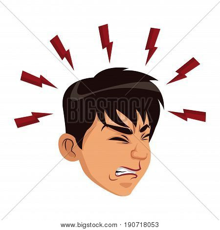man sick headache migraine healthcare concept vector illustration