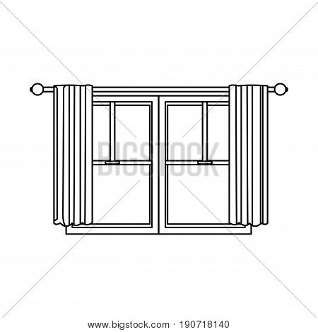 window home architecture curtain interior image vector illustration