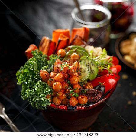 Buddha bowl of mixed vegetables, healthy and nutritious vegan meal