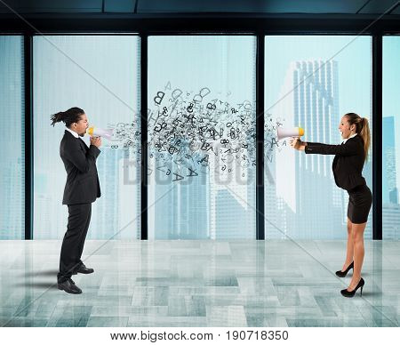 Two collegues screaming each other with megaphone in office. Concept of stress and competition
