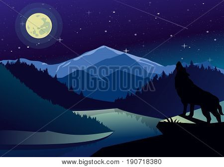 Vector landscape illustration with mountains and forests in night time. Wolf on the top of mountain howling at the moon on background of river view, dark sky and stars