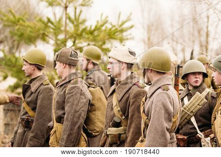 Gomel, Belarus - November 26, 2016: Soldiers of the Red Army of the USSR in the ranks before the battle. Reconstruction in Gomel