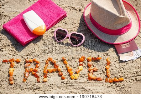 Inscription Travel, Accessories For Sunbathing And Passport With Currencies Euro On Sand At Beach, S