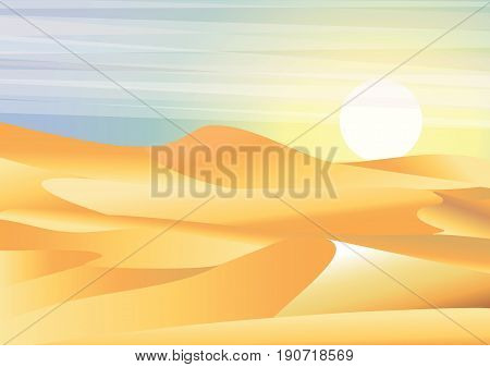 Landscape background desert with dunes, barkhans and caravan of camels vector illustration in flat style