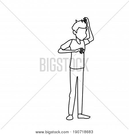 dizziness young man with stars spinning around his head vector illustration