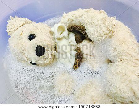Close Up of Cute Brown Teddy Bear Taking A Bath in The Bathtub for Clean Concept.